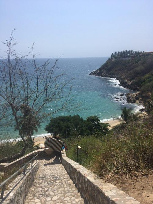 Stairs down to Carrizalillo Beach, Mexico