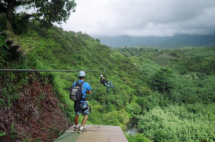 Zipline through the mountains of Oahu
