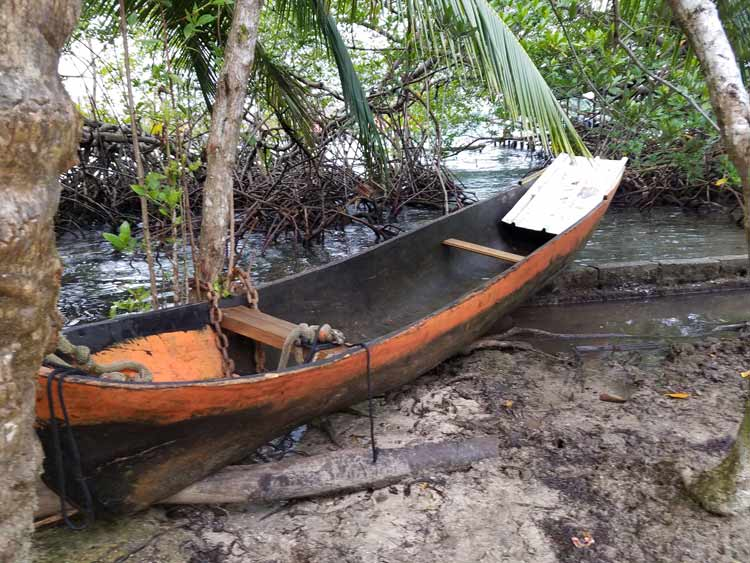 Hand-carved canoe in Bocas del Toro. Photo by Angie Falor