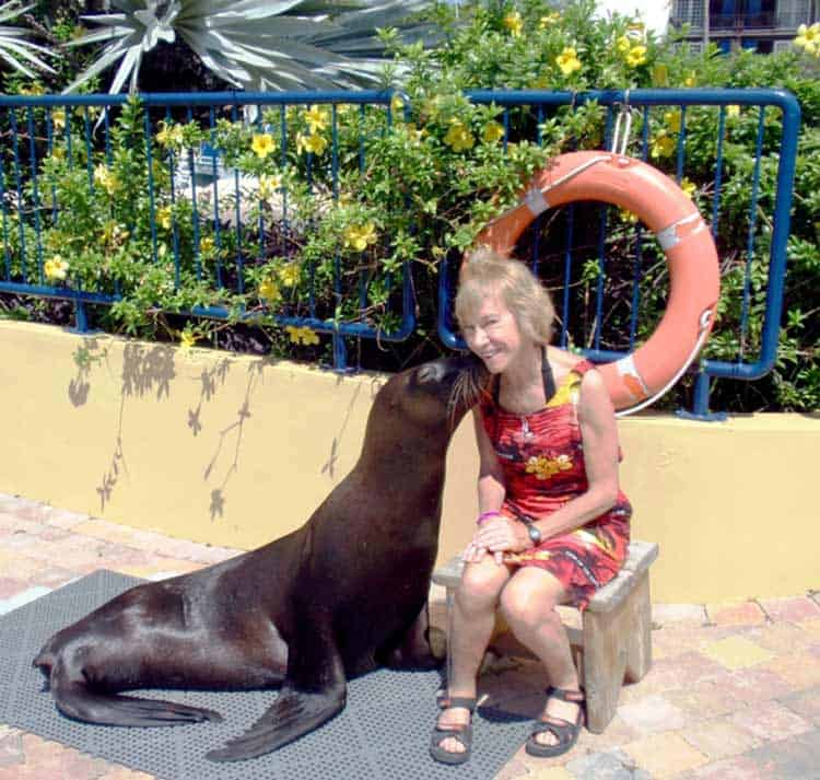 Kisses are a highlight of hanging out with residents of the Curacao Sea Aquarium. Photo by Victor Block