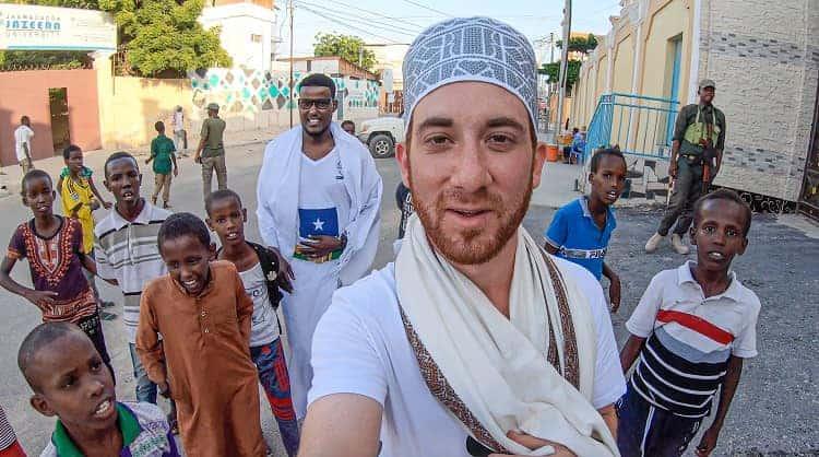 Drew Binsky was taking a selfie in Somalia