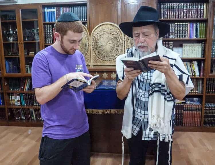 Drew Binsky with jewish rabbi