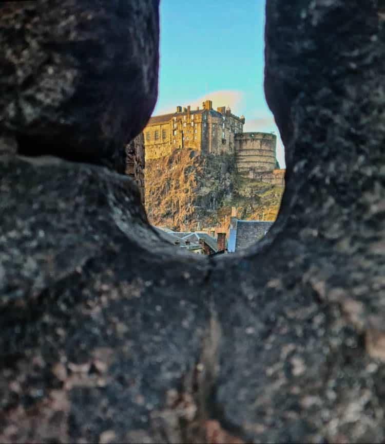 View of Edinburgh Castle through Flodden Wall