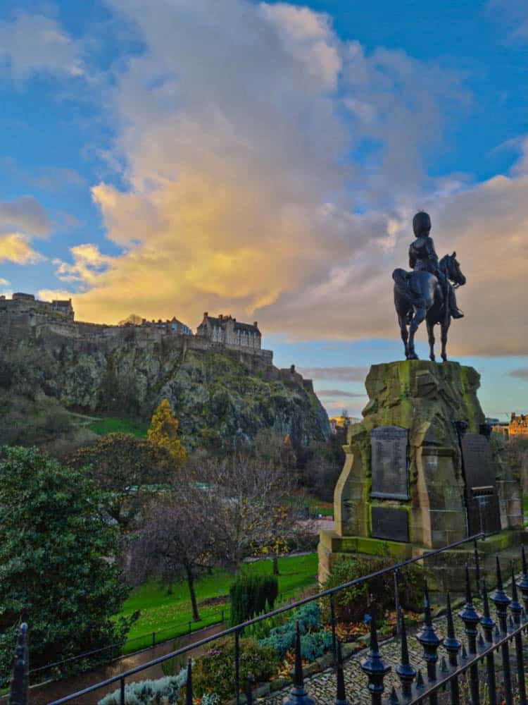 View of Edinburgh Castle from Princess Street.