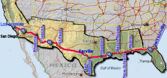 United States florida to california route