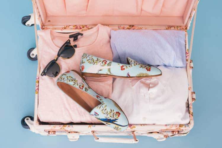 Neatly packed pink suitcase