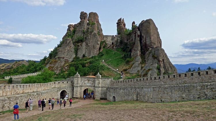 Tourists visiting the famous Belogradchik Fortress in Bulgaria
