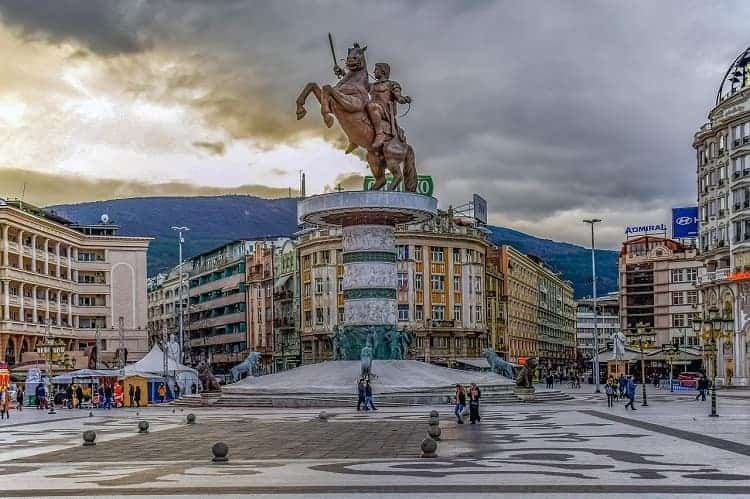 Warrior on a horse located in the city center represents Alexander the Great in Skopje