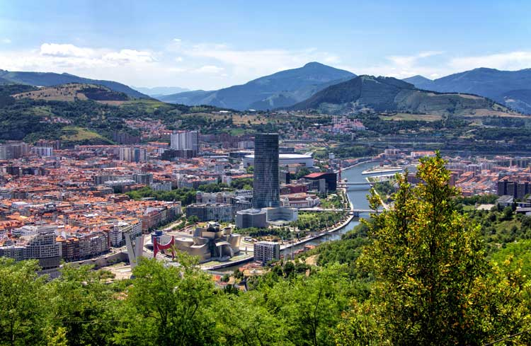 View of the city of Bilbao in Spain
