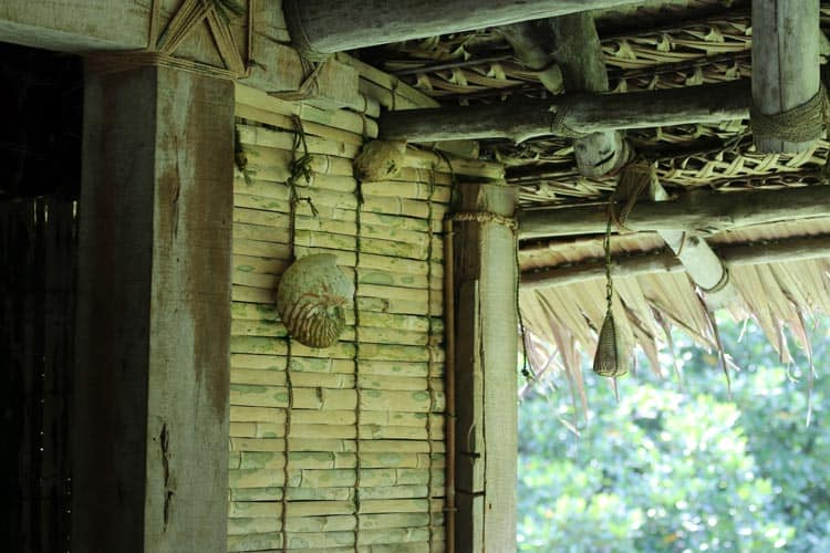 Bamboo slat wall and decorations of men's house in Yap