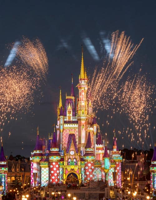 Pyrotechnic pixie-dust moments add bursts of merriment each night at Magic Kingdom Park as Cinderella Castle is transformed.