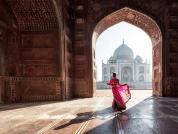 Fascinating contrasts in front of Taj Mahal in India.