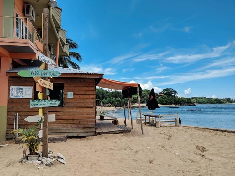 Surf shack on beach in Tobago