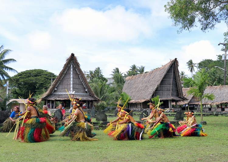 Women's standing dance in front of Yap Living History Museum
