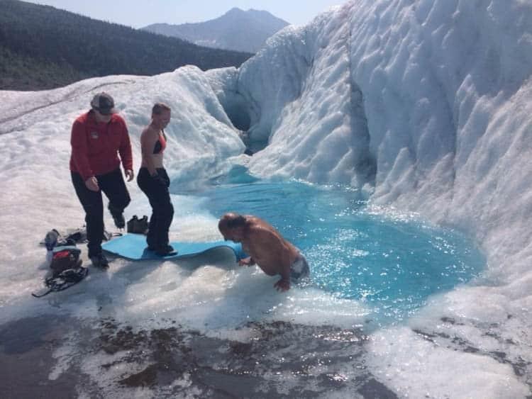 Blue Pool on Root Glacier Wrangell-St Elias Park. Cold! But invigorating