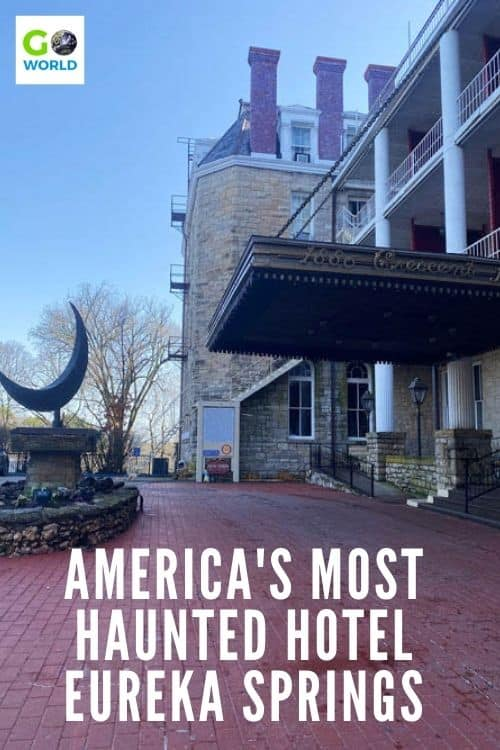 A visit to the Crescent haunted hotel in Eureka Springs, AR comes with spine-chilling stories of ghosts & the mysterious owner who made them. #hauntedhotel #eurekaspringsarkansas #hauntedhoteleurekasprings #Crescenthoteleurekasprings