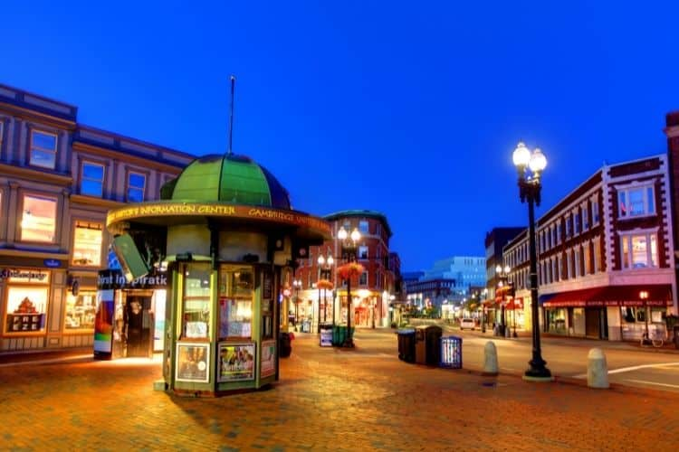 Lively Harvard Square in Cambridge, MA is full of boutiques and sidewalk cafes