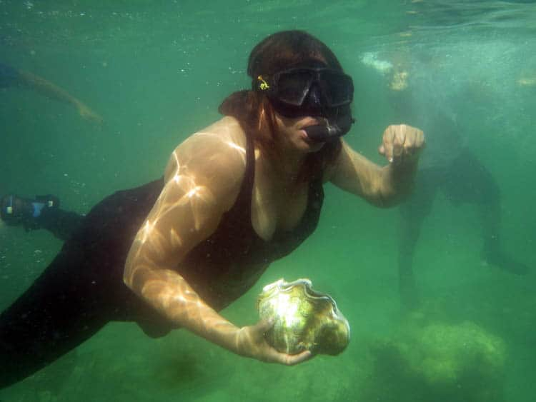 Diving in Yap Working in the Giant Clam Farm.
