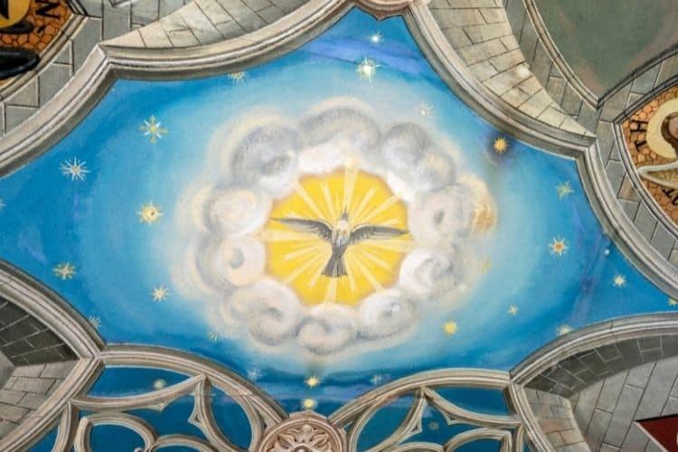 Ornate ceiling inside the Italian Chapel painted by Domenico Chiochetti