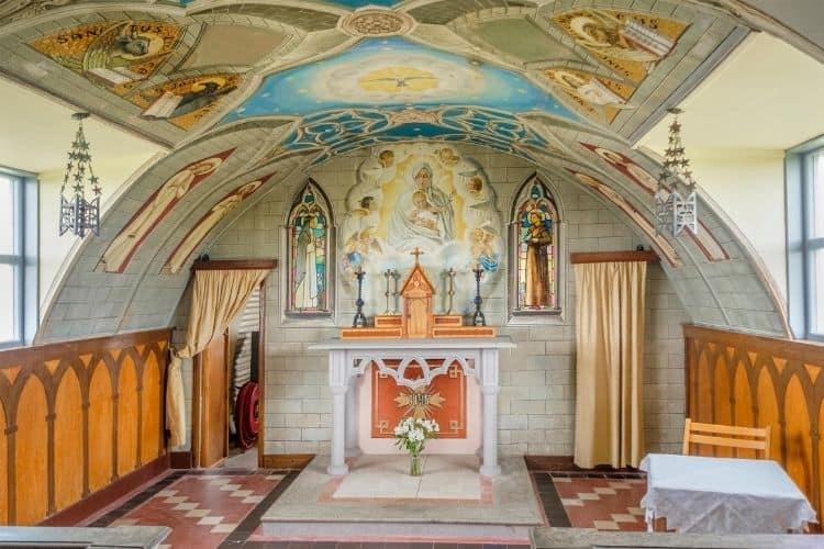 The beautiful altar inside the Italian Chapel Orkney Scotland