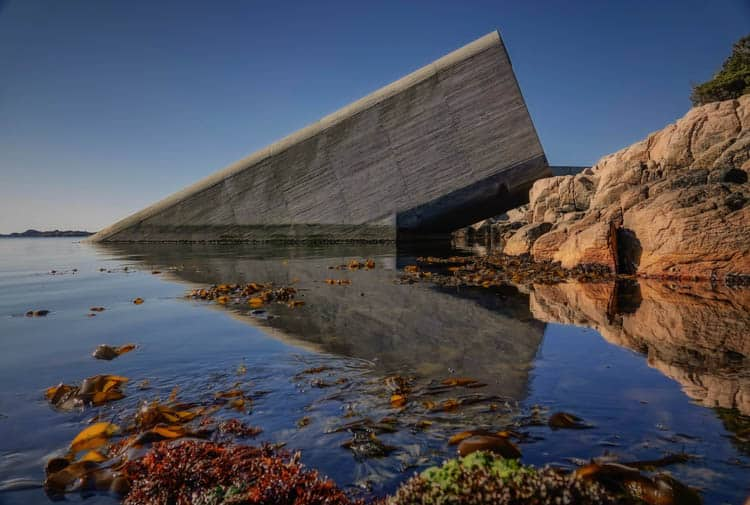 The world's largest underwater restaurant in Lindesnes. Norway road trip