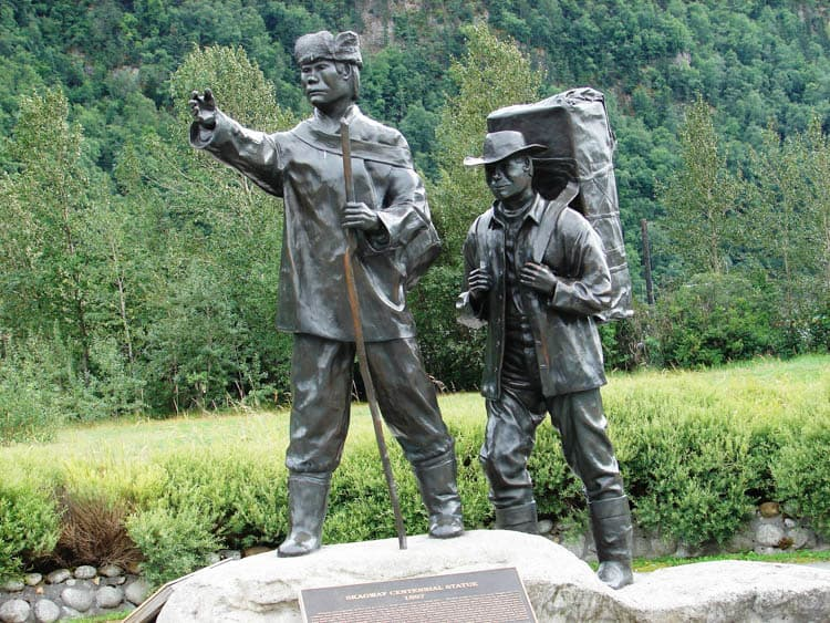 Statue of a native guide and gold-seeker along the White Pass & Yukon Route