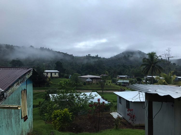 Hills and village in Fiji