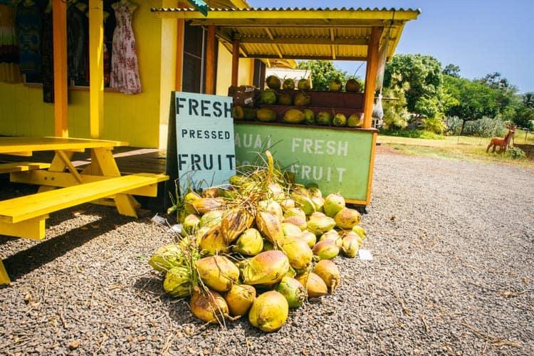 Fresh fruit stand in Kauai
