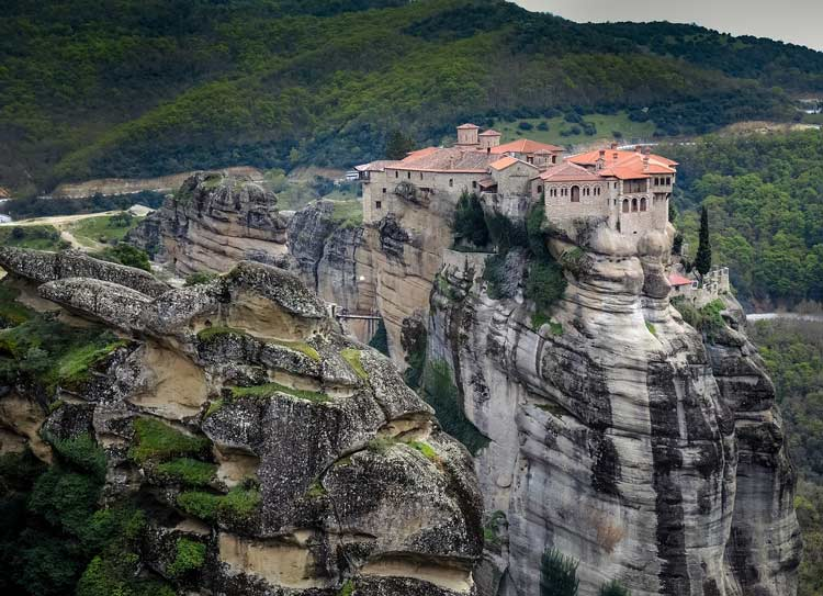 A monastery on a cliff in Meteora, Greece