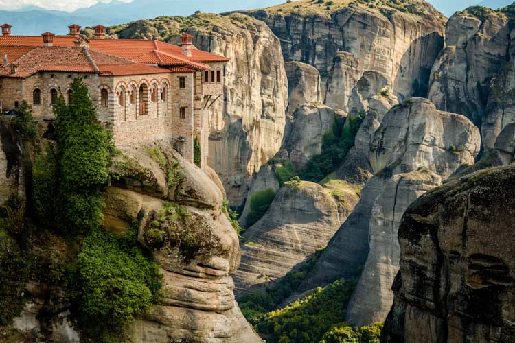 Meteora monastery built into the cliff