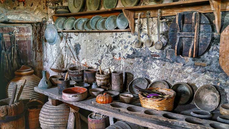 Traditional tools and kitchenware of the monks