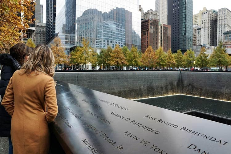 At the 911 memorial in NYC