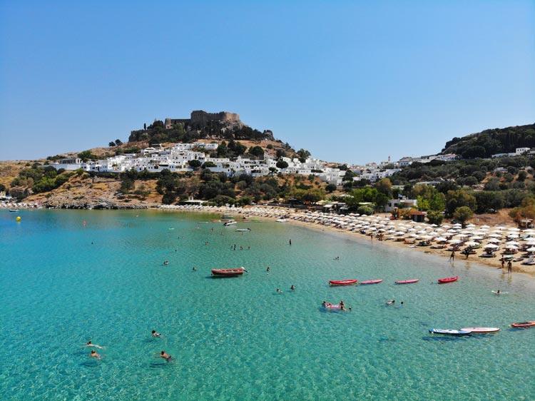 Enjoy the beach at Lindos, Rhodes