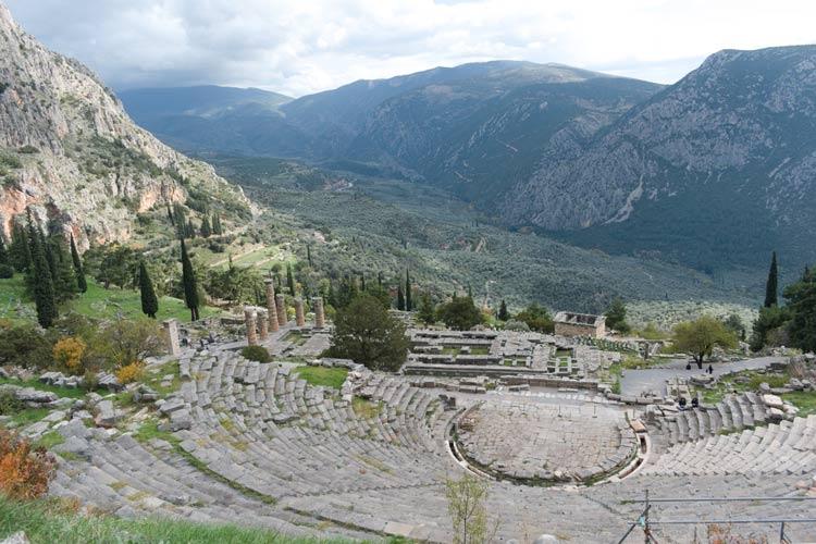 Ancient ruins in Delphi, Greece