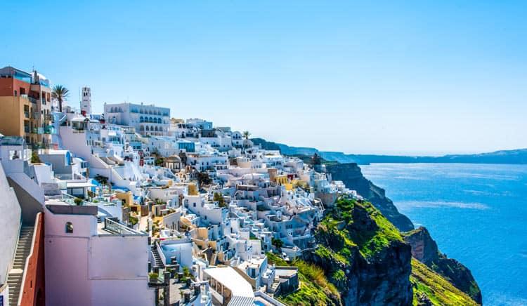 City of Santorini on the coast