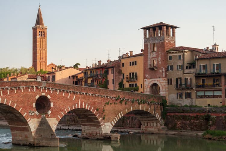 Romantic old buildings and bridges in Verona, Italy