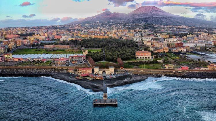 City of Naples with Mount Vesuvius behind