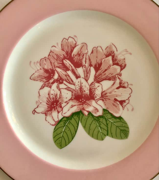 The Dorothy Draper-inspired Rhododendron pattern in the Main Dining Room. Photo By Claudia Carbone