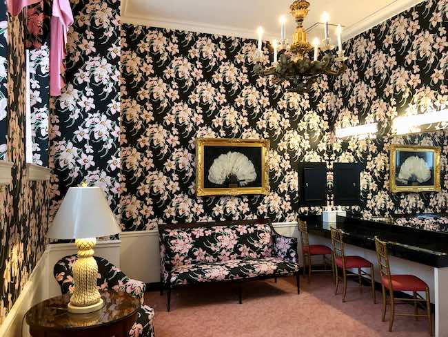 Powder room surrounded by Rhododendron flowers, West Virginia's state flower. Photo by Claudia Carbone