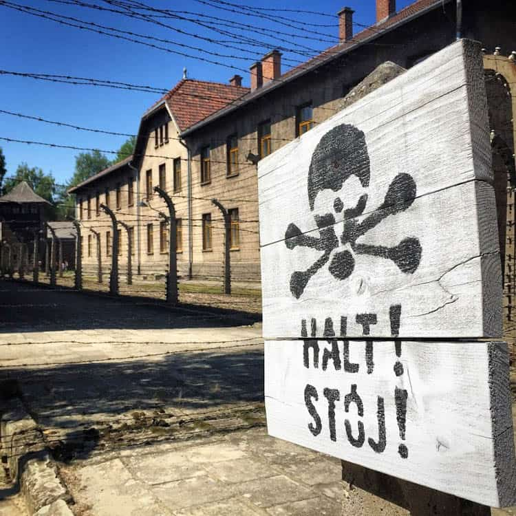 Sign at Auschwitz. What to do in Krakow, Poland