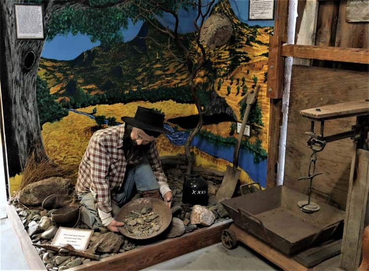 Figure of a miner at the Coarsegold Historic Museum. Photo by Victor Block