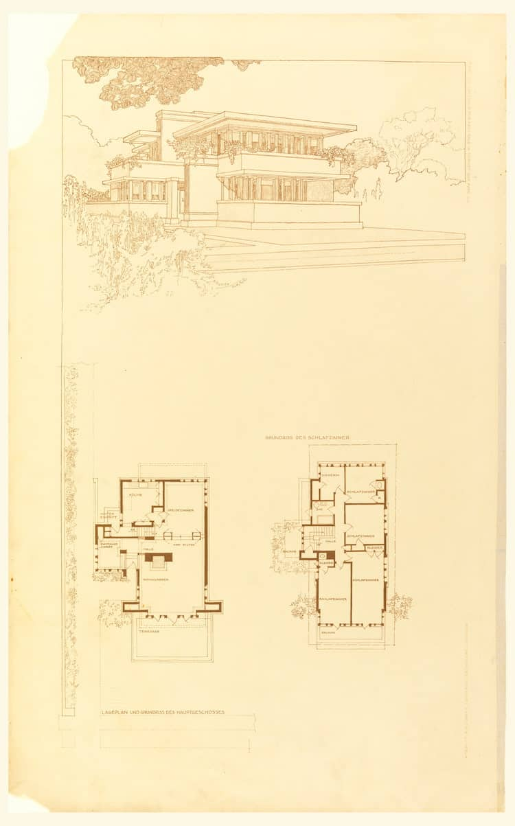 Plans by Architect Frank Lloyd Wright Courtesy of the Smithsonian