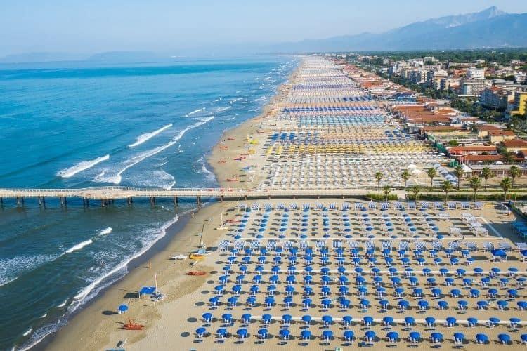 Beaches in Tuscany include the beautiful Versilia