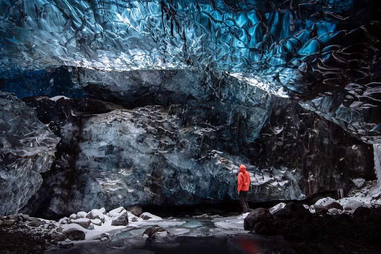 Explore a glacier ice cave in Iceland