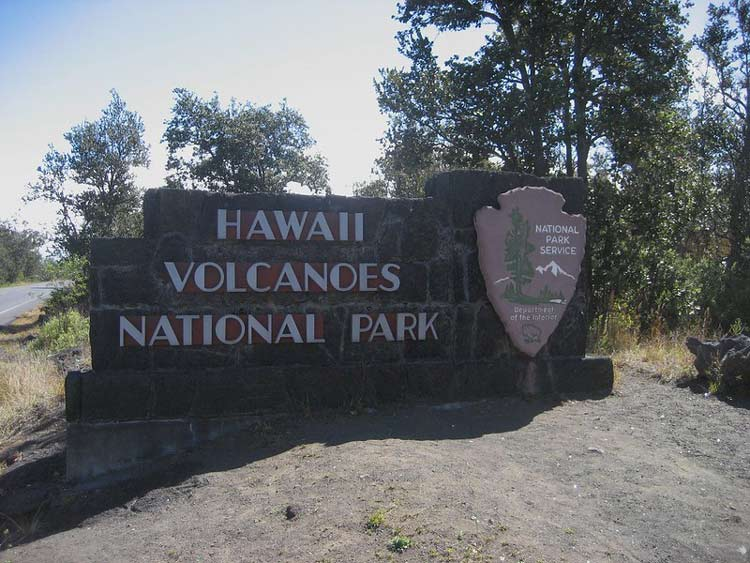 The sign entering Hawaii Volcanoes National Park