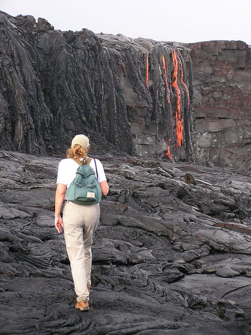 Walking on and seeing live lava in Hawaii Volcanoes National Park