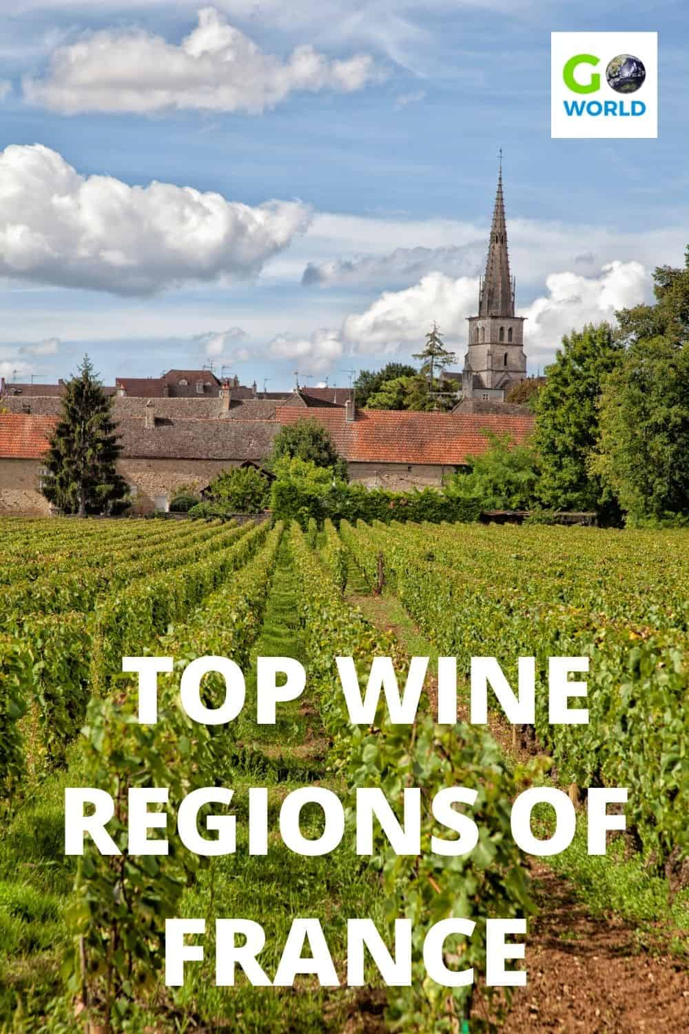 Explore the top wine regions of France. Full-bodied reds, crisp whites, subtle rosés & champagne are there for tasting with stunning scenery. #FranceWineRegions #FrenchWine #WineRegionsofFrance