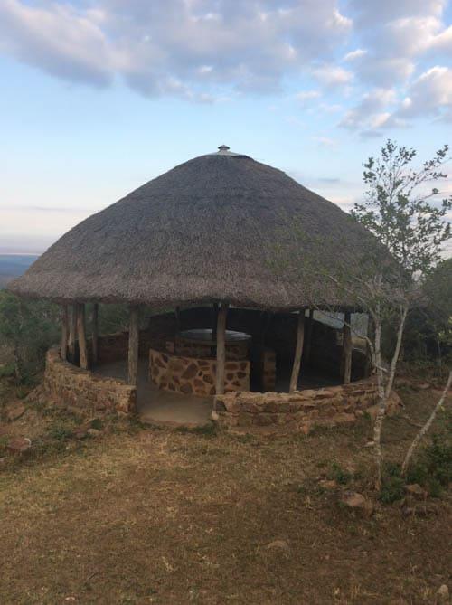 Shewula Mountain Camp A thatched roof pavilion