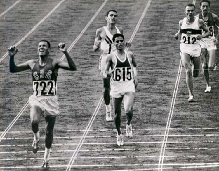 Billy Mills winning the 10,000m in the 1964 Olympics