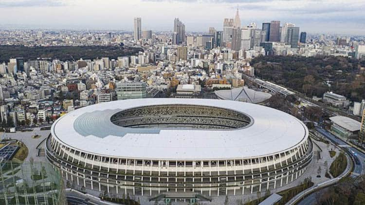 The newly erected Japan National Stadium for the Tokyo Olympics